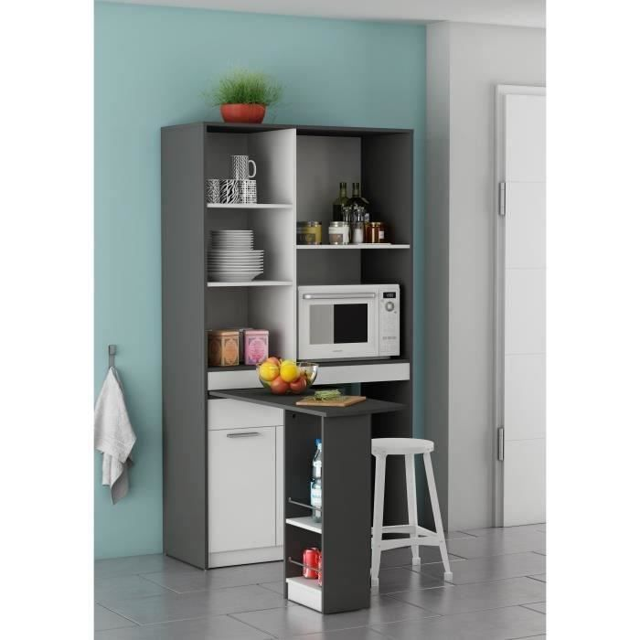 Urban rangement de cuisine 100 cm blanc et gris graphite - Buffet de cuisine gris ...