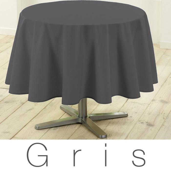 nappe ronde anti tache 180 cm gris design actuel achat vente nappe de table soldes d. Black Bedroom Furniture Sets. Home Design Ideas