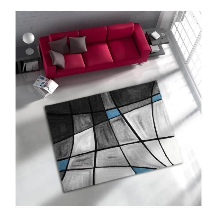 Allotapis tapis de salon avec effet 3d gris et bleu chic for Tapis de salon gris