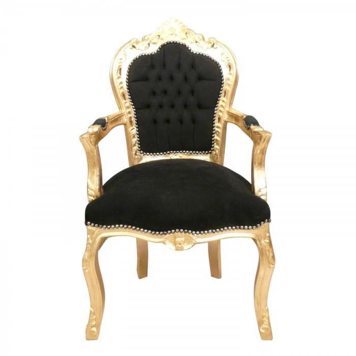 fauteuil baroque noir et dor achat vente fauteuil noir cdiscount. Black Bedroom Furniture Sets. Home Design Ideas