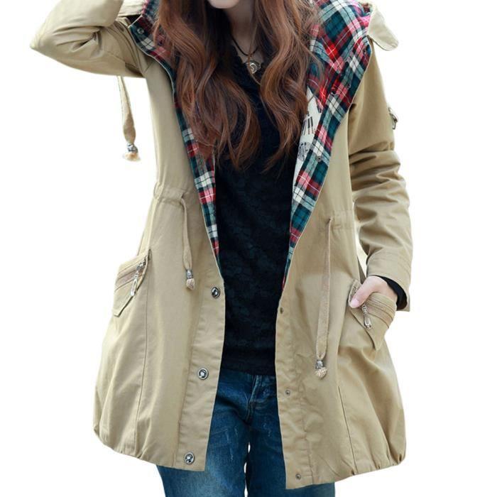 zip veste manteau slim trench jacket avec capuche femme kaki achat vente imperm able. Black Bedroom Furniture Sets. Home Design Ideas