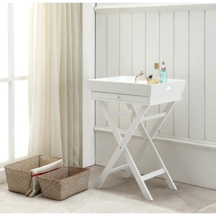 table d 39 appoint plateau amovible sur pieds tr teaux coul blanc achat vente table d 39 appoint. Black Bedroom Furniture Sets. Home Design Ideas