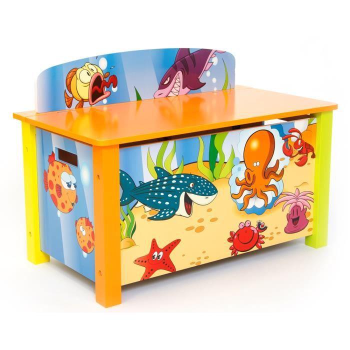 coffre jouer pour enfant motif poissons achat vente. Black Bedroom Furniture Sets. Home Design Ideas