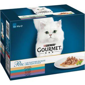 GOURMET Perle Les Filettines En Sauce Repas Pour Chat Adulte Dinde/Canard/Agneau/Thon 12 X 85 G