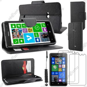 HOUSSE - ÉTUI Etui portefeuille Nokia Lumia 625, Noir +Mini Styl