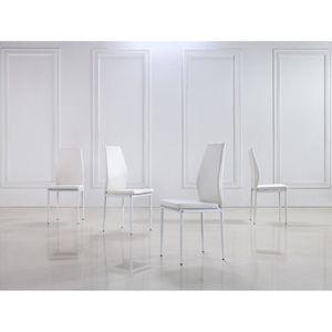 CHAISE Lot de 4 chaises blanches RAUL en similicuir