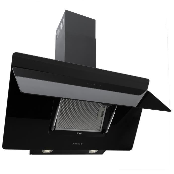 arebos hotte murale cuisine aspirante 90 cm verre noir. Black Bedroom Furniture Sets. Home Design Ideas