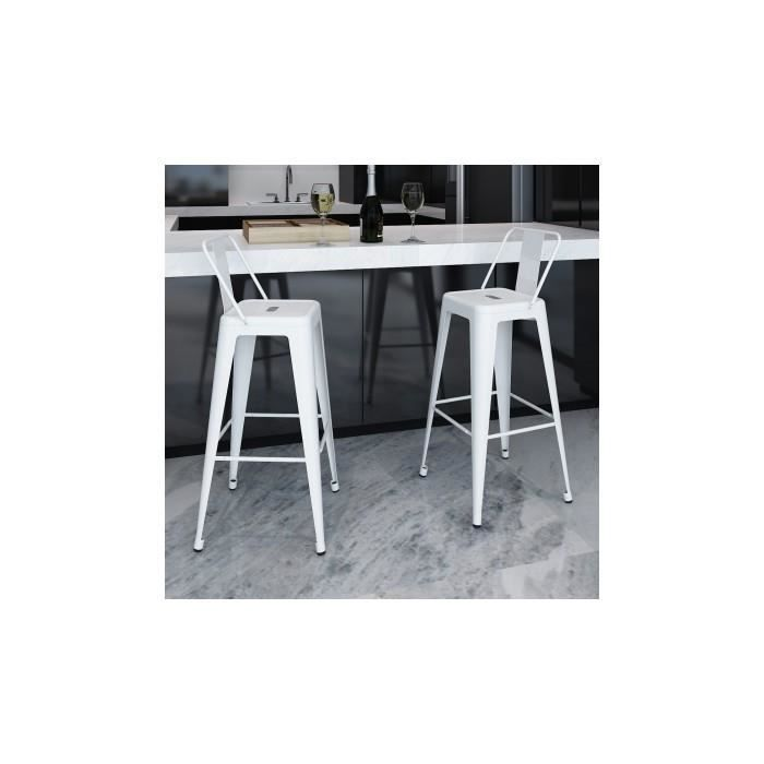 2 de tabourets de bar hauts avec dossier blanc achat vente tabouret de bar blanc cdiscount. Black Bedroom Furniture Sets. Home Design Ideas