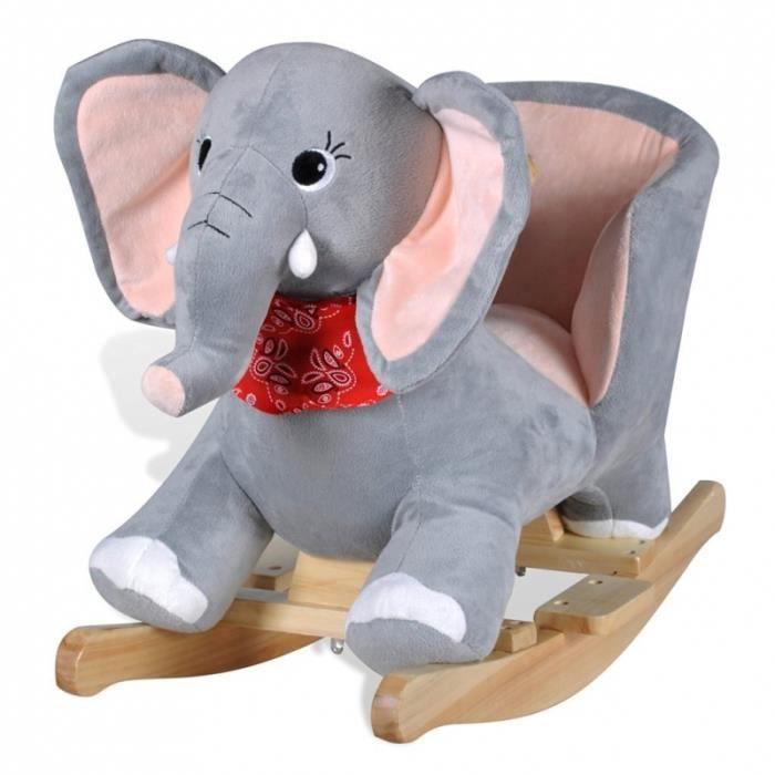 Si ge fauteuil chaise bascule enfant jouet tissu gris for Chaise a bascule enfant
