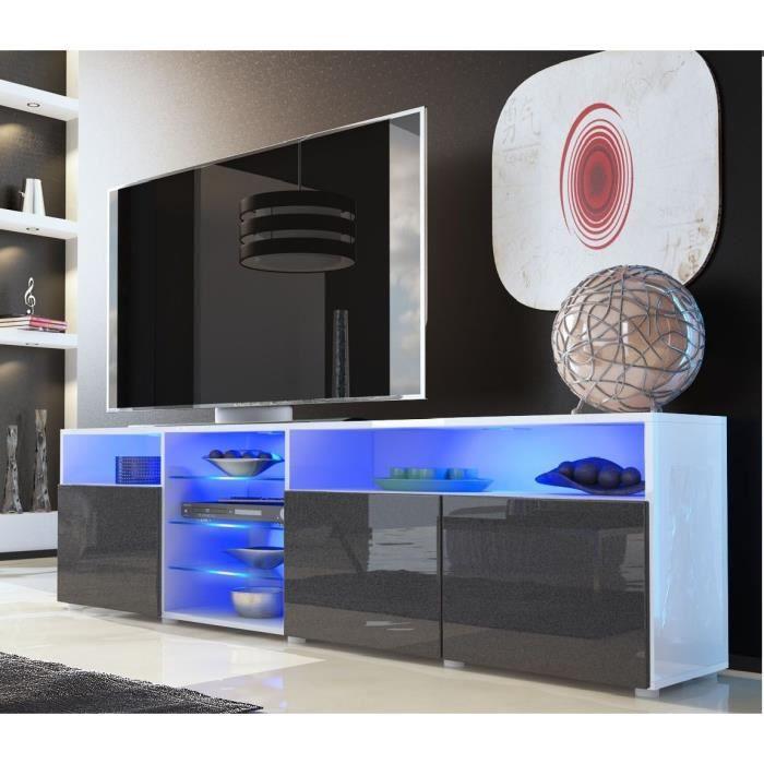Meuble tv blanc et noir m tallique avec tag re vitr e for Meuble salon blanc et noir