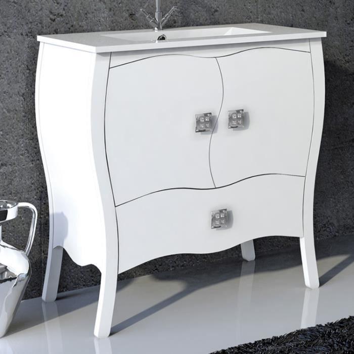 Meuble sur pieds 80cm 2 portes 1 tiroir alcazar blanc for Porte patio 8 pieds