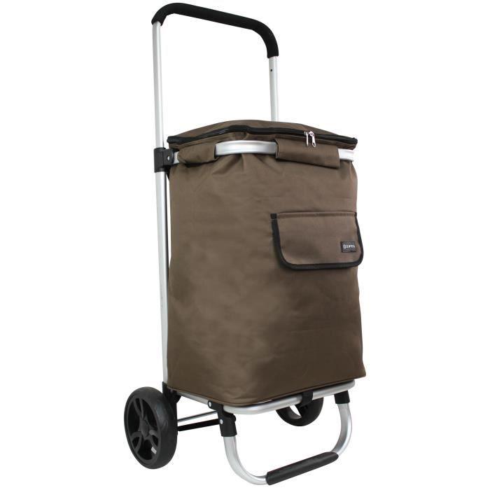 chariot de courses roulettes isotherme zifel lz570c chocolat achat vente poussette de. Black Bedroom Furniture Sets. Home Design Ideas