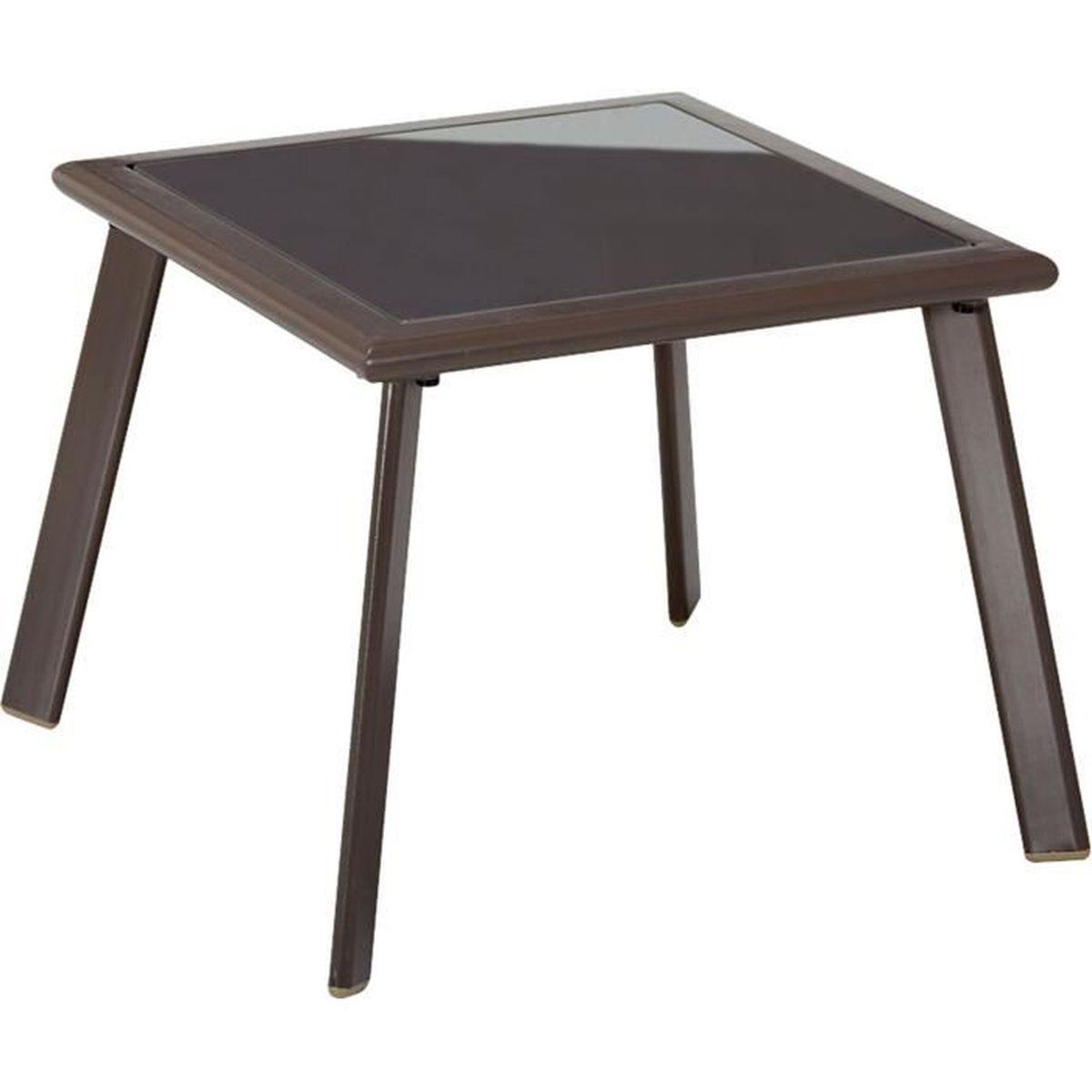 Buny table basse de jardin grise en acier et verre tremp for Table de jardin grise