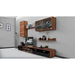 Meuble tv mural marron achat vente meuble tv mural for Meuble mural noir brillant