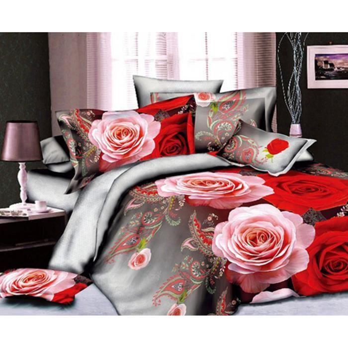 housse de couettes 3d fleur draps de lit couette taies d 39 oreiller 4pc 12 achat vente. Black Bedroom Furniture Sets. Home Design Ideas