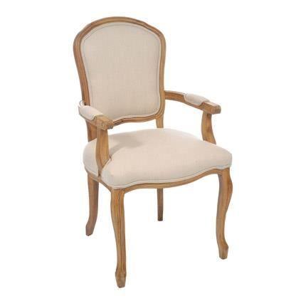 Chaise avec accoudoirs style louis xv coloris n achat vente chaise de - Chaise bureau cdiscount ...