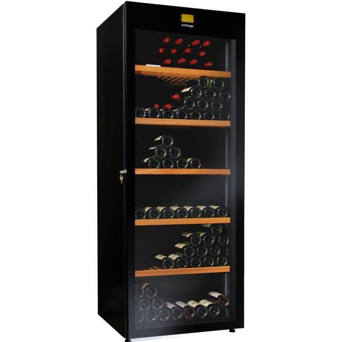 Cave vin de service multi temp ratures 264 bouteilles noir avintage - Cave a vin de service ...
