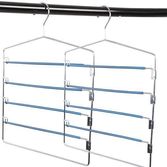 2 cintres avec barres pivotantes pour 5 pantalons achat vente cintre 2 cintres avec barres. Black Bedroom Furniture Sets. Home Design Ideas