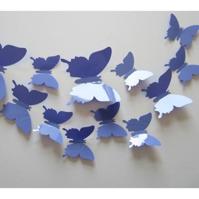 12 pi ces 3d stickers papillon violet d coration maison for Decoration murale papillon 3d noir