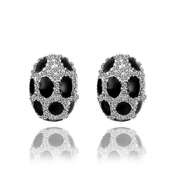 point noir ovale blanc boucle d 39 oreille femme achat vente boucle d 39 oreille point noir ovale. Black Bedroom Furniture Sets. Home Design Ideas
