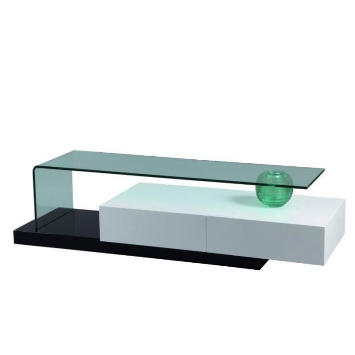 Meuble tv design blanc noir verre 2t achat vente for Meuble de tele en verre