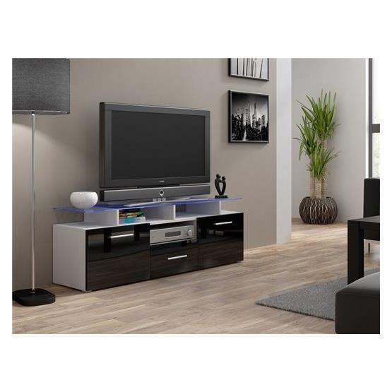 Meuble tv design evori mini blanc et noir achat vente for Meuble blanc et noir
