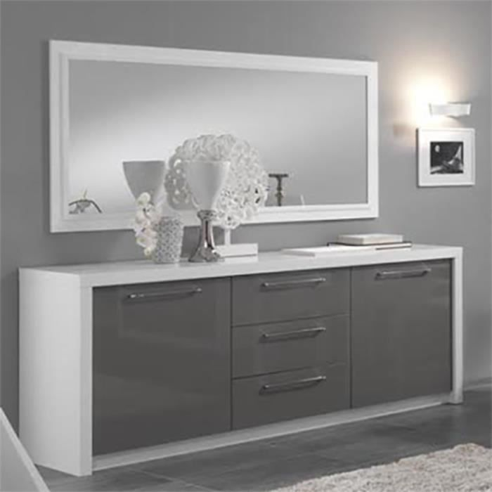 bahut 2 portes 3 tiroirs miroir l180cm fano blanc gris achat vente buffet bahut bahut 2. Black Bedroom Furniture Sets. Home Design Ideas
