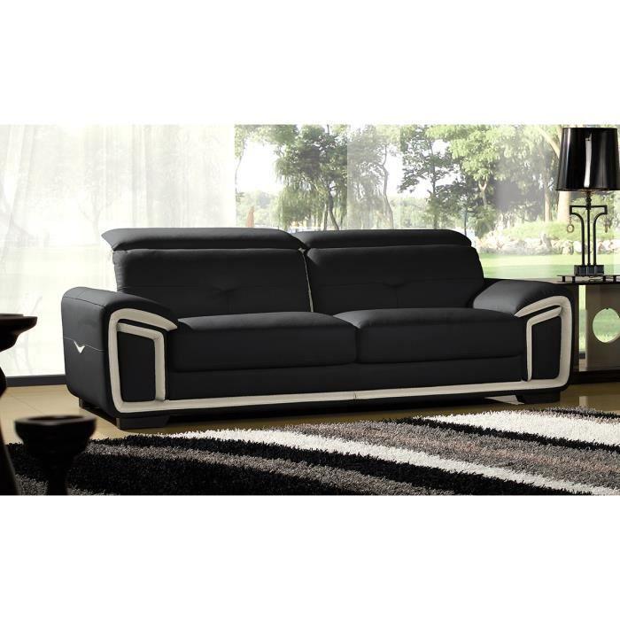 Canap en cuir sup rieur 3 places noir et beige hamilton achat vente canap sofa divan - Canape cuir beige 3 places ...