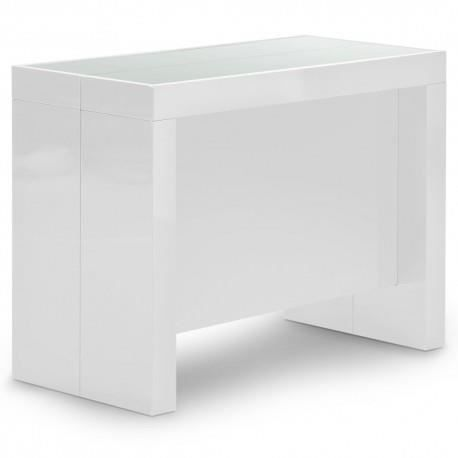 Table console extensible vegas blanc achat vente table for Table basse vegas