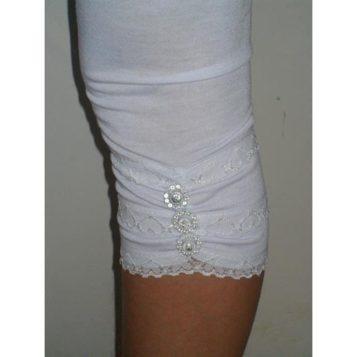 leggins enfant fille blanc court dentelle strass blanc achat vente legging leggins enfant. Black Bedroom Furniture Sets. Home Design Ideas
