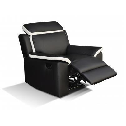 fauteuil relax en simili souffle noir et blanc achat. Black Bedroom Furniture Sets. Home Design Ideas