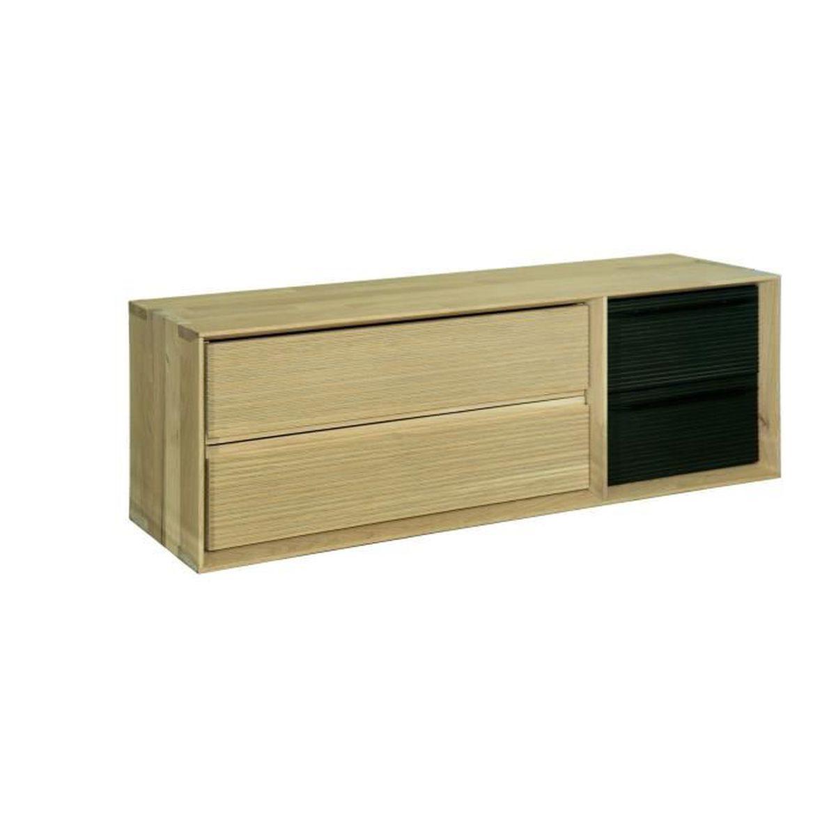 Fine meuble meuble tv biseaut 2 cases avec 2 blocs for Meuble tv avec tiroir