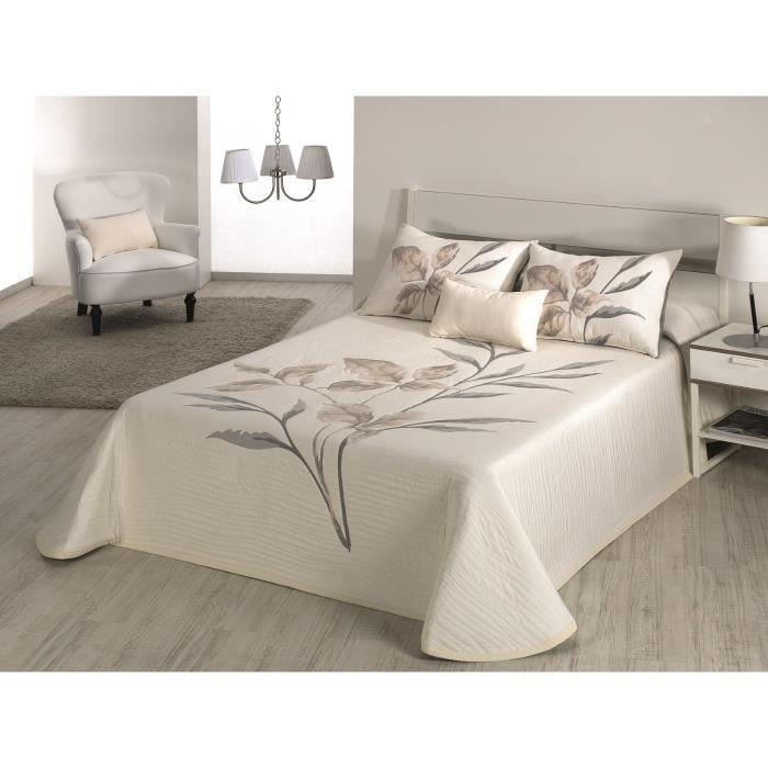 couvre lit 235x270 cm tiss jacquard leave gris pour lit de 140x190 cm fabriqu en espagne c 01. Black Bedroom Furniture Sets. Home Design Ideas