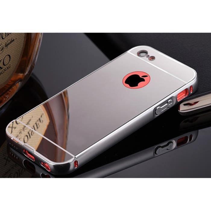 Coque iphone 4 4s aluminium miroir coloris argent etui for Coque cdiscount