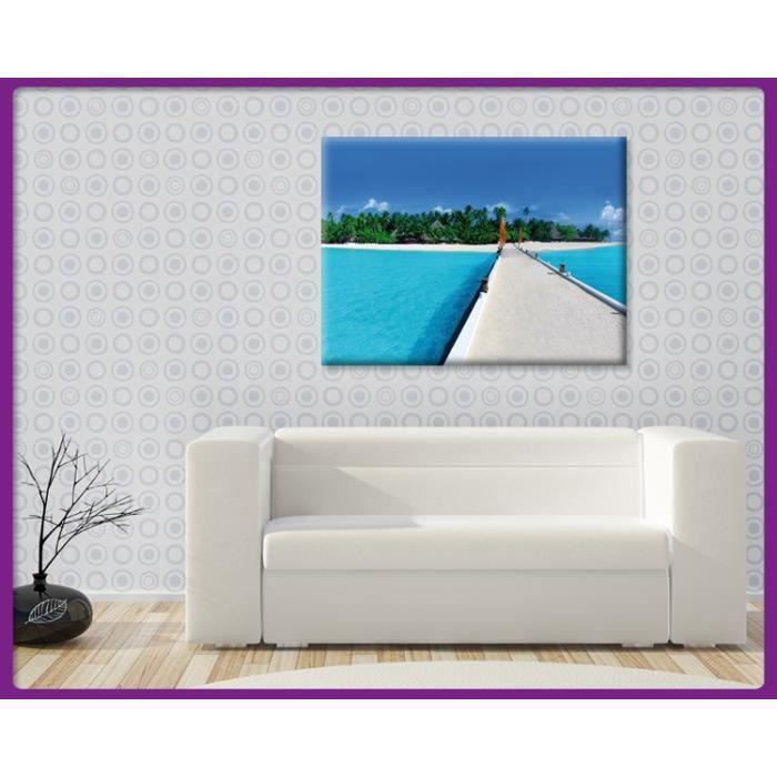Bilderdepot24 impression sur toile maldives 120x90cm for Tableau impression sur toile