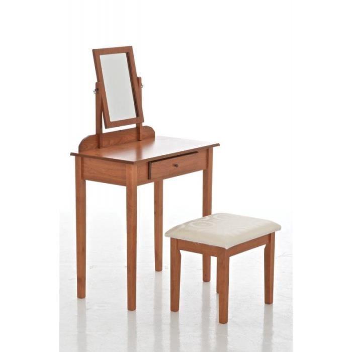 Coiffeuse avec tabouret et miroir inclus en bois brun for Coiffeuse avec miroir et tabouret