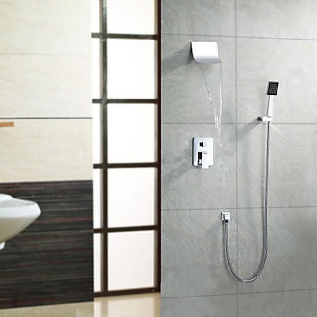 Lookshop robinet de douche contemporain cascade avec pomme de douche 8 pouce - Montage robinet douche ...