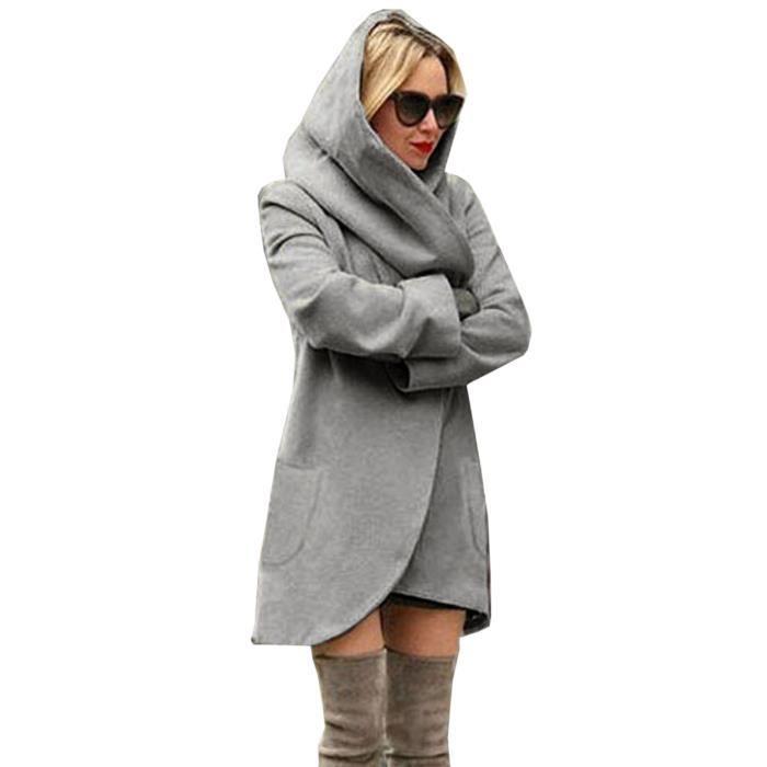 veste capuche femme feutre manteau automne hiver manche longue blouson mode gris achat. Black Bedroom Furniture Sets. Home Design Ideas