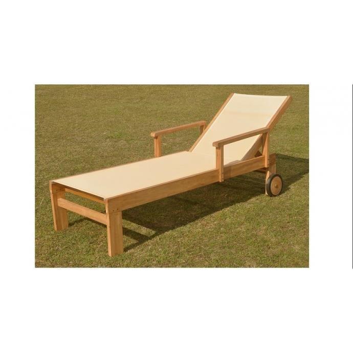 transat en teck en textil ne beige achat vente chaise. Black Bedroom Furniture Sets. Home Design Ideas