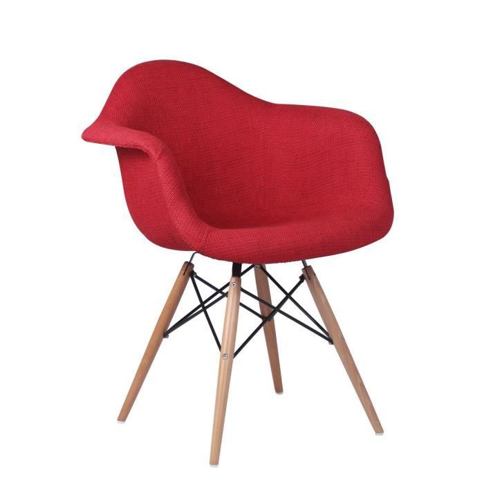 Chaise wooden arms hetre tapissee rouge rouge unique for Chaise wooden arms