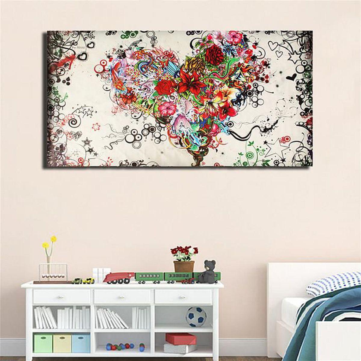 peinture abstrait huile toile tableau aquarelle sans cadre c ur fleurs d cor mur achat vente. Black Bedroom Furniture Sets. Home Design Ideas