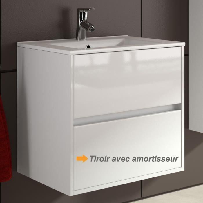 Meuble salle de bain suspendu et vasque porcelaine 70 cm couleur blanc acha - Meuble vasque salle de bain 70 cm ...