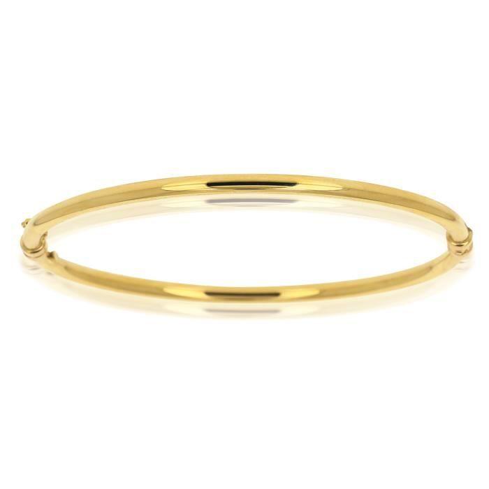bracelet jonc rigide lisse en or jaune 18 carats achat vente bracelet gourmette bracelet. Black Bedroom Furniture Sets. Home Design Ideas