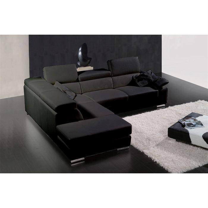 Canap cuir de vachette noir ff302 achat vente canap sofa divan so - Type de cuir pour canape ...