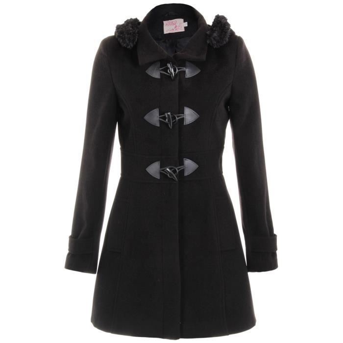 femme manteau duffle coat boutons noir achat vente blouson cdiscount. Black Bedroom Furniture Sets. Home Design Ideas