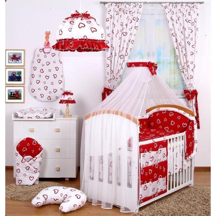set de 18 pcs de linge chambre b b rideaux blanc blanc achat vente parure de lit b b. Black Bedroom Furniture Sets. Home Design Ideas