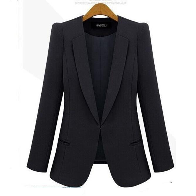 nouvelle arrivee bureau v tements veste blazer femme 2015 mode veste l 39 automne noir noir. Black Bedroom Furniture Sets. Home Design Ideas