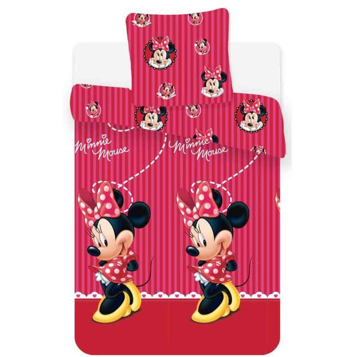 Minnie mouse housse de couette avec taie d 39 oreiller fille - Taie d oreiller minnie ...