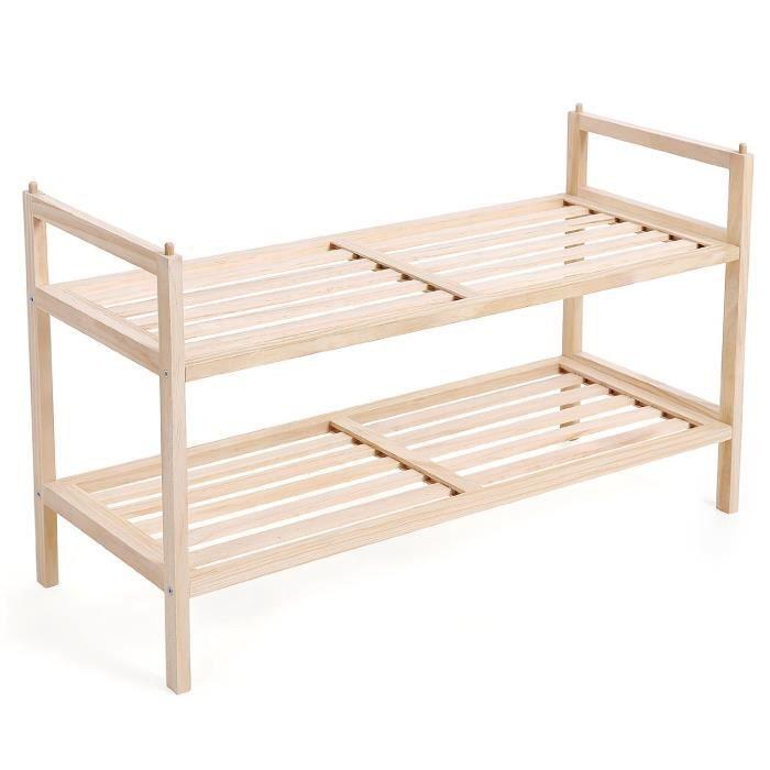 tag re chaussures 2 niveaux tag re de rangement tag re pour livres et fleurs en bois. Black Bedroom Furniture Sets. Home Design Ideas