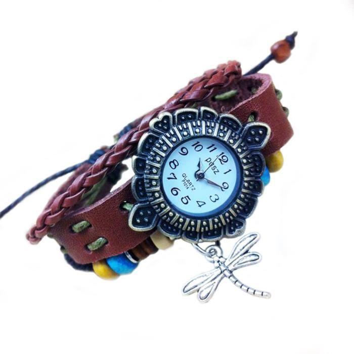 Montre bracelet cuir d coration libellule achat vente montre cdiscount for Montre decoration